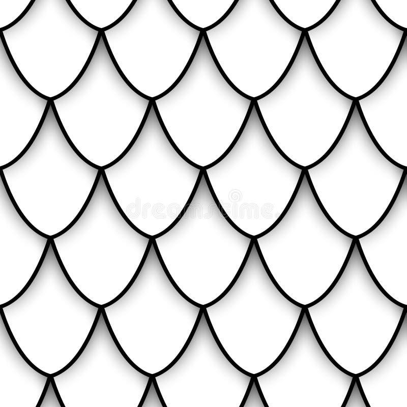 Monokrom sömlös modell med naturliga motiv vektor illustrationer