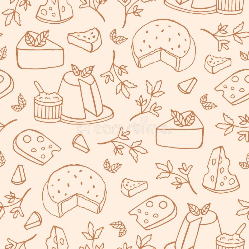 Monokrom sömlös modell med ost av olika sorter - ricotta, roquefort, brie, maasdam Bakgrund med läckert vektor illustrationer