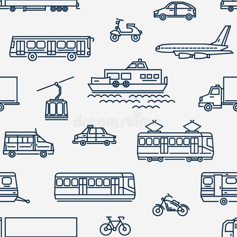 Monokrom sömlös modell med transport av olika typer på vit bakgrund royaltyfri illustrationer