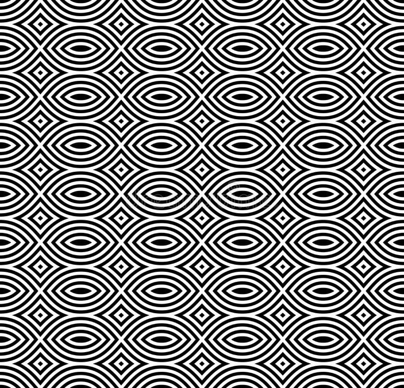 Monokrom sömlös modell-, svart- & vitmosaik för vektor royaltyfri illustrationer