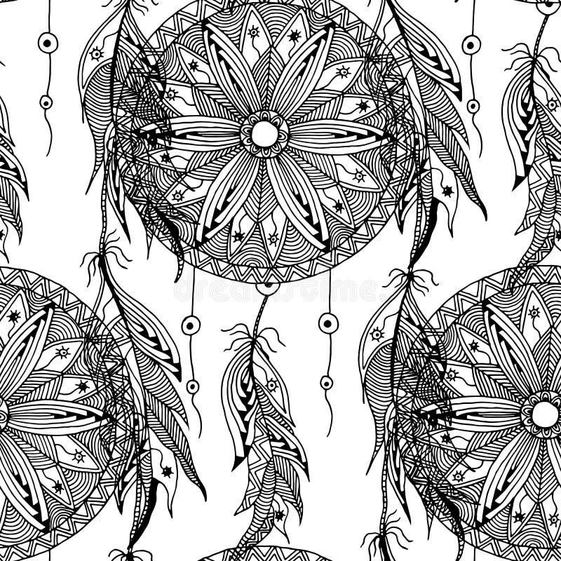 Monokrom sömlös modelldrömstoppare med fjädrar royaltyfri illustrationer