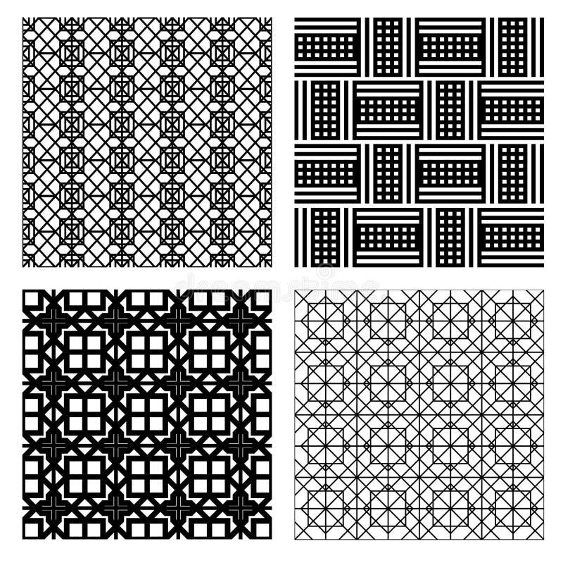 Monokrom sömlös modelluppsättning abstrakt bakgrundsvektor vektor illustrationer