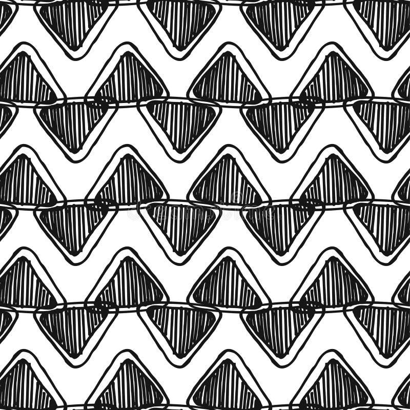 Monokrom sömlös zentanglesparremodell med klottertrianglar royaltyfri illustrationer