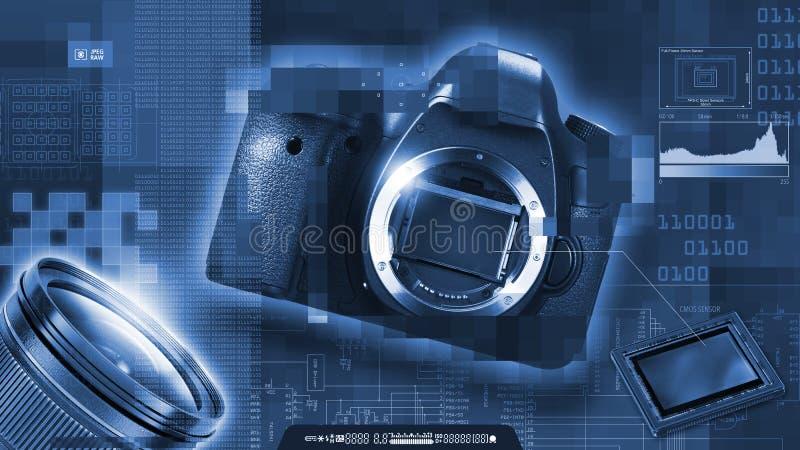 Monokrom sammansättning av temat för digitalt fotografi Reflexkamera, avkännare, lins och PIXEL vektor illustrationer