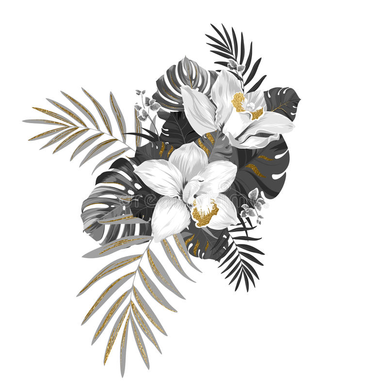 Monokrom sammansättning med exotiska växter Två orkidér, sidor av monsteraen och gömma i handflatan dekorerat av guld- texturbest vektor illustrationer