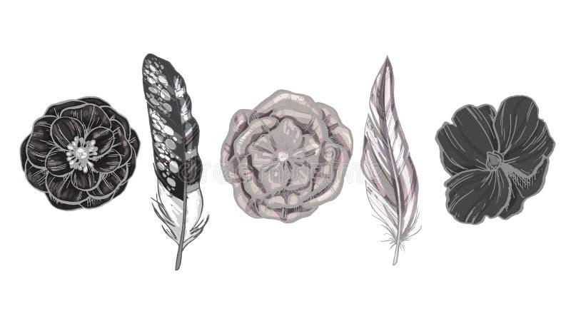 Monokrom specificerade fågelfjädrar och blommor som isolerades på vit bakgrund En uppsättning av härlig fågelfjäderdräkt också ve royaltyfri illustrationer
