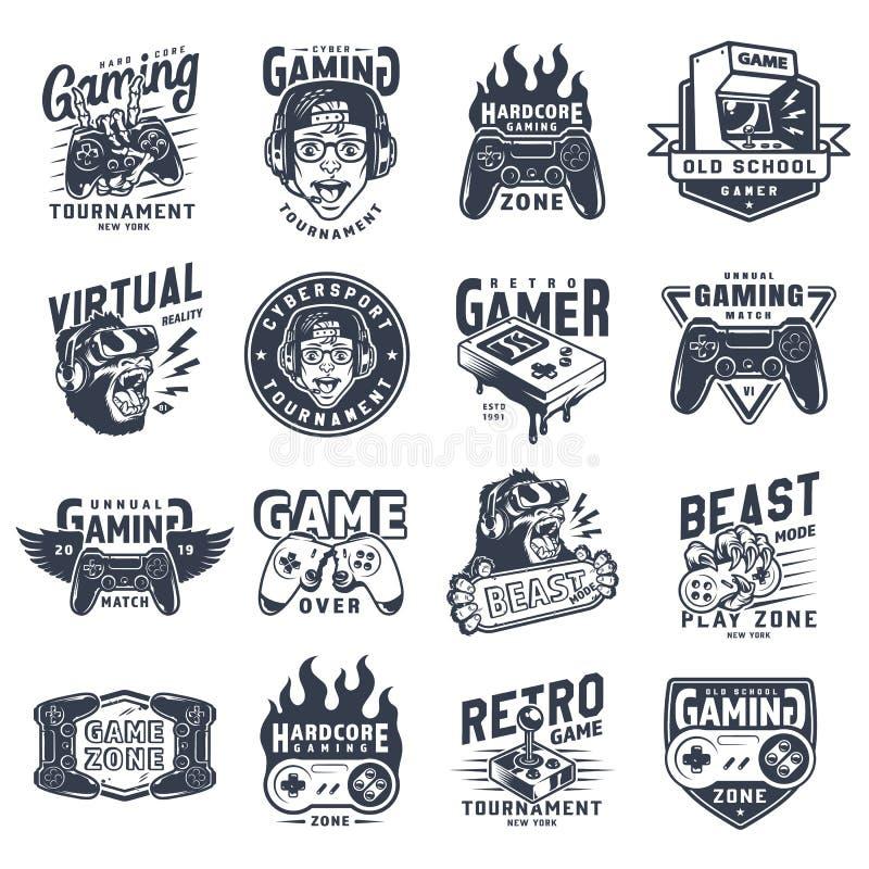 Monokrom spela emblemuppsättning för tappning stock illustrationer