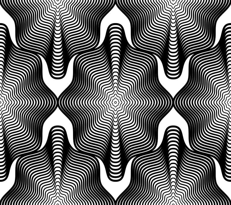 Monokrom strimmig ändlös modell för vektor, fortlöpande geometr för konst vektor illustrationer