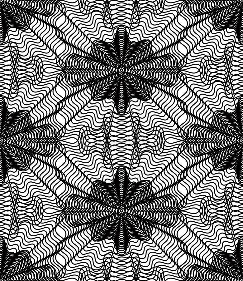 Monokrom strimmig illusive ändlös modell för vektor, konstcontinuou royaltyfri illustrationer