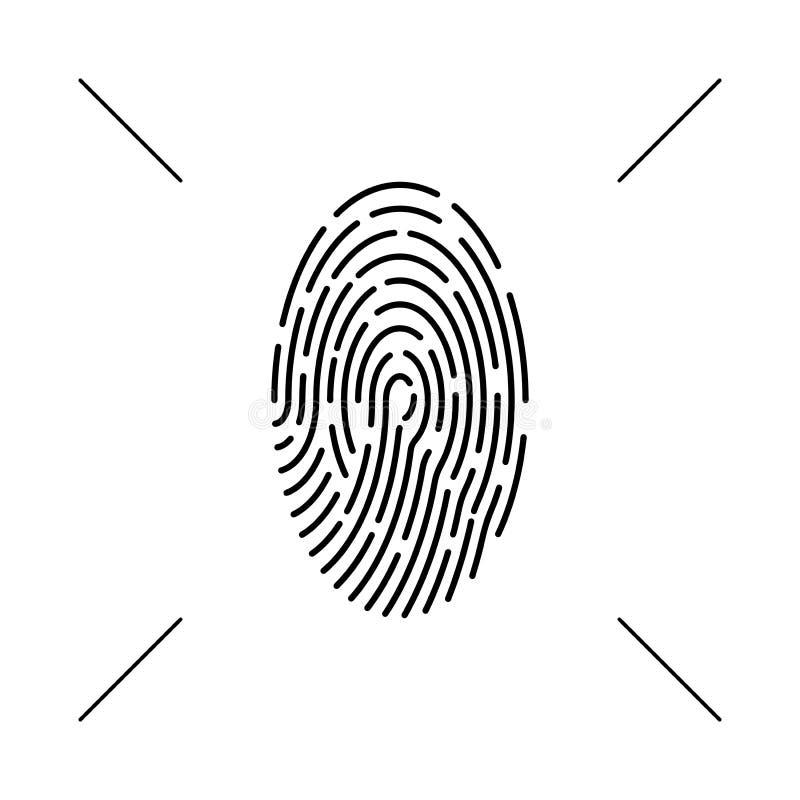 Monokrom symbol för fingeravtryck Vektorbegrepp, abstrakt bildläsning, symbol Isolerad bakgrund för design beståndsdel royaltyfri illustrationer