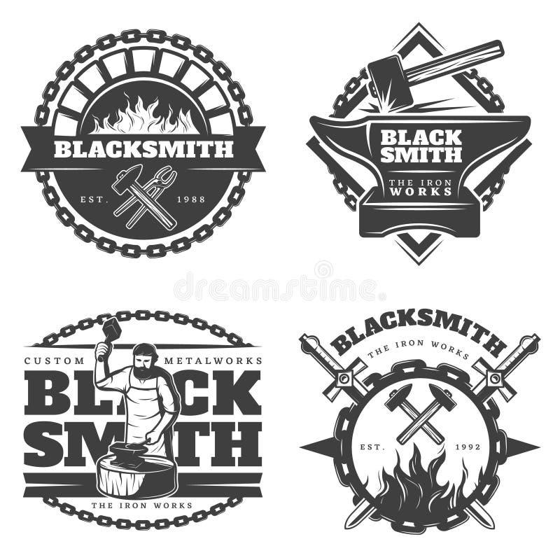 Monokrom tappninghovslagare Emblems Set royaltyfri illustrationer