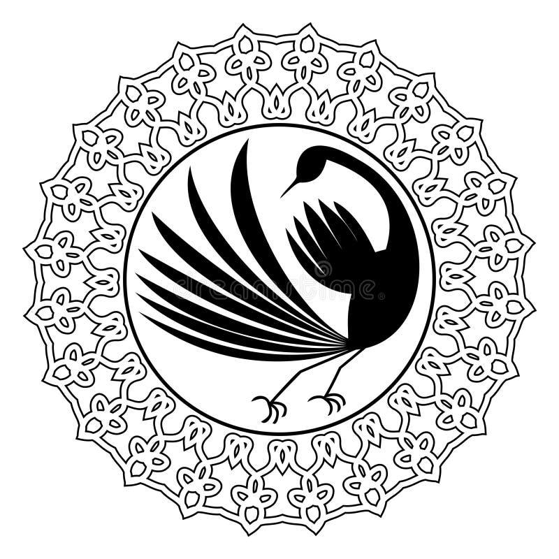 Monokrom teckning med den stiliserade fågelkonturn i dekorativ ram för cirkel Svart fågelgarnering royaltyfri illustrationer