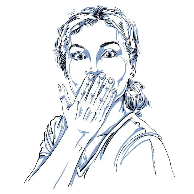 Monokrom vektor hand-dragen bild, chockad ung kvinna _ stock illustrationer