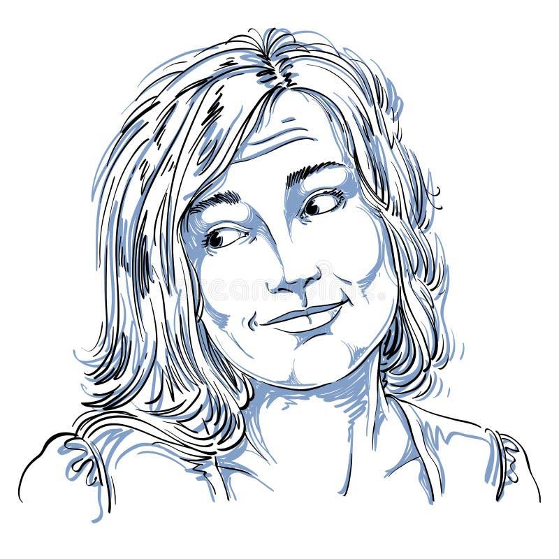 Monokrom vektor hand-dragen bild, klandervärd ung kvinna blA royaltyfri illustrationer