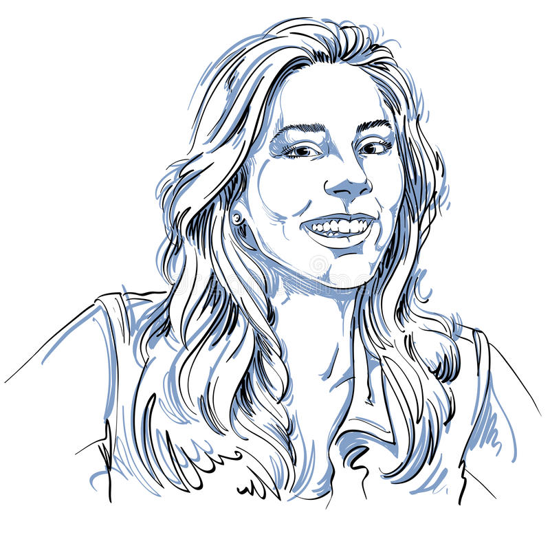 Monokrom vektor hand-dragen bild, lycklig le ung kvinna B stock illustrationer