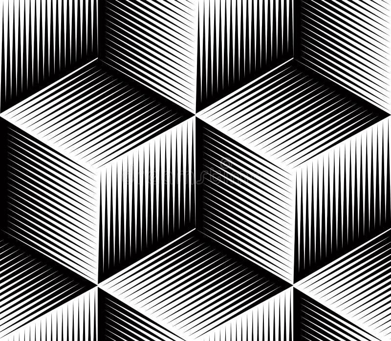 Monokromabstrakt begrepp väver samman den geometriska sömlösa modellen royaltyfri illustrationer