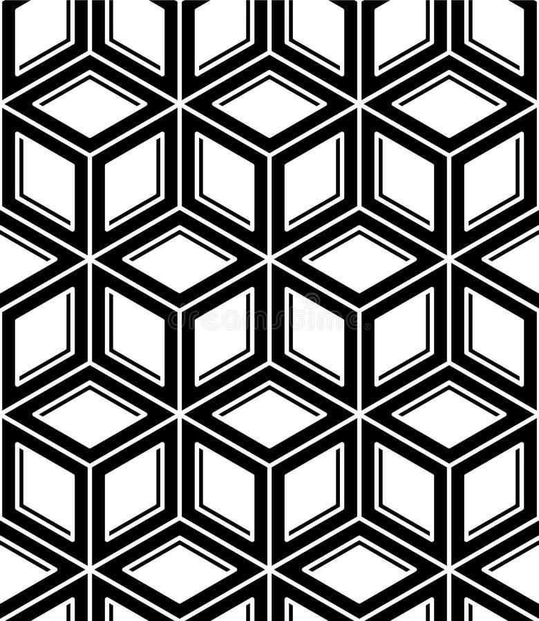 Monokromabstrakt begrepp väver samman den geometriska sömlösa modellen Vecto stock illustrationer