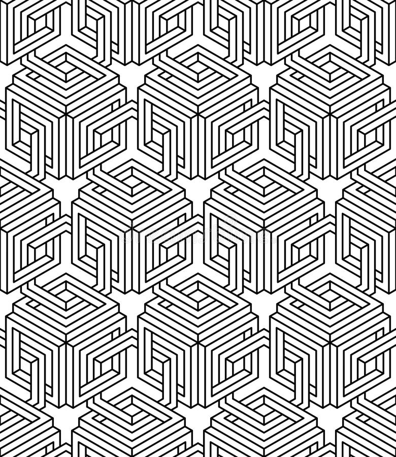 Monokromabstrakt begrepp väver samman den geometriska sömlösa modellen Vecto vektor illustrationer