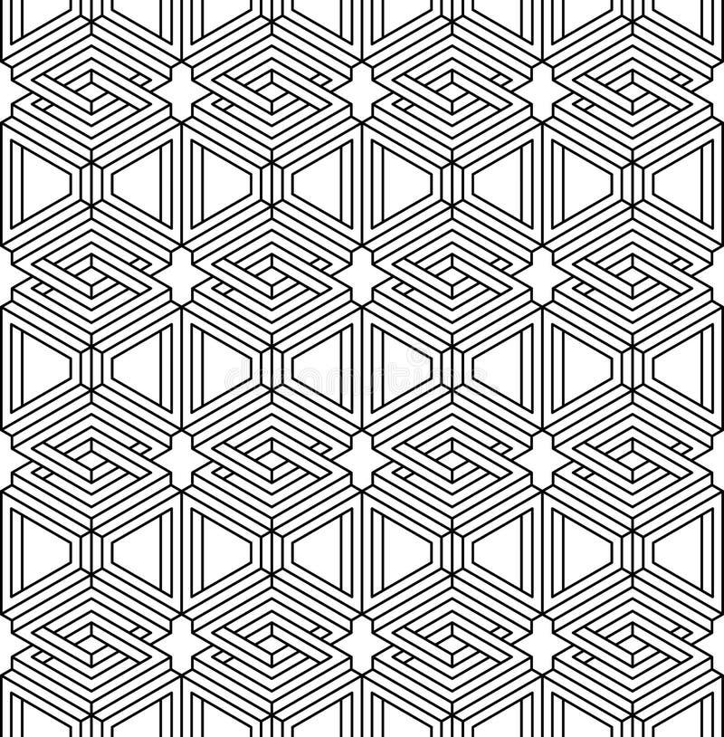 Monokromabstrakt begrepp väver samman den geometriska sömlösa modellen vektor royaltyfri illustrationer