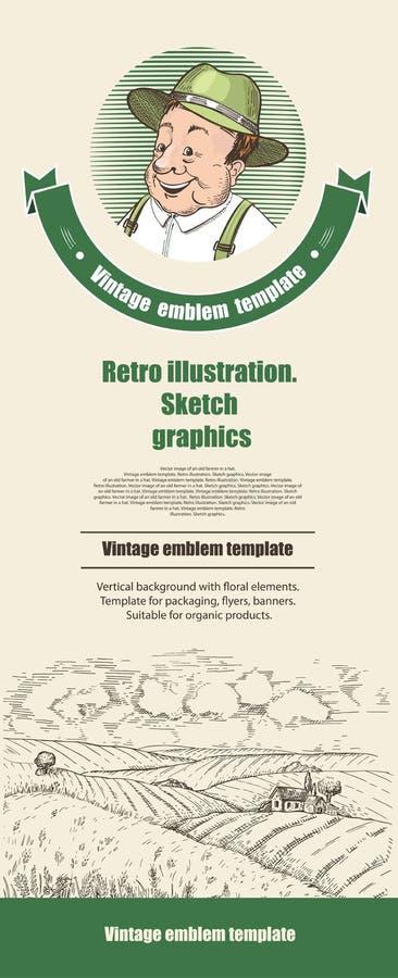 Monokromen skissar Mall för reklamblad, baner, broschyrer vektor illustrationer