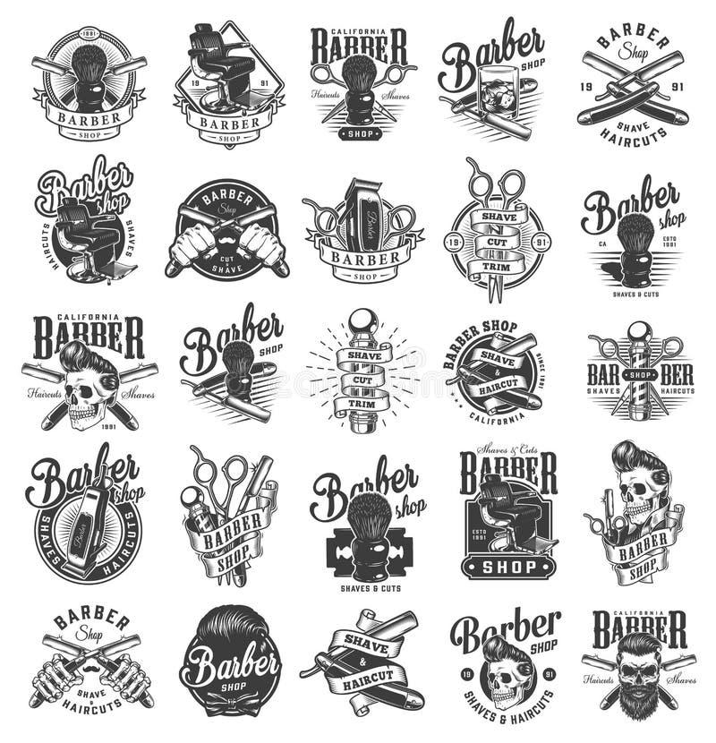 Monokromma frisersalongetiketter för tappning royaltyfri illustrationer