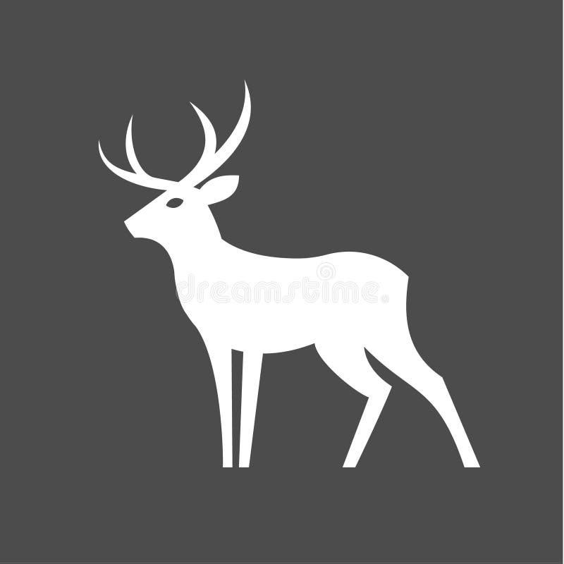 Monokromma hjortar med horn på kronhjortillustrationen för den moderna minimalist designen, plast- form av en djur en färg royaltyfri illustrationer