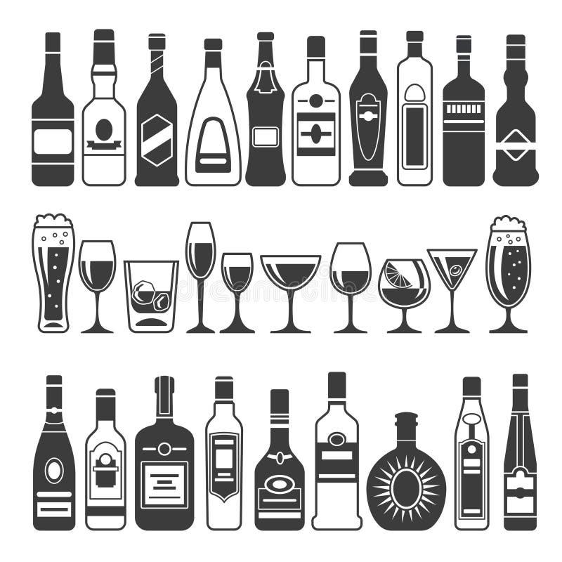 Monokromma illustrationer av svarta bilder av alkoholiserade flaskor Vektorillustrationer för logo- eller etikettdesign stock illustrationer