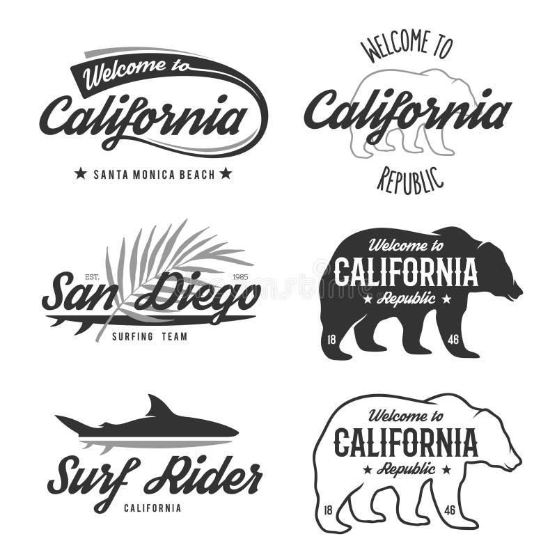Monokromma Kalifornien för vektortappning emblem stock illustrationer
