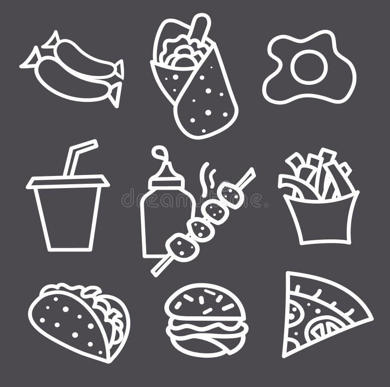 Monokromma matsymboler och tecken stock illustrationer