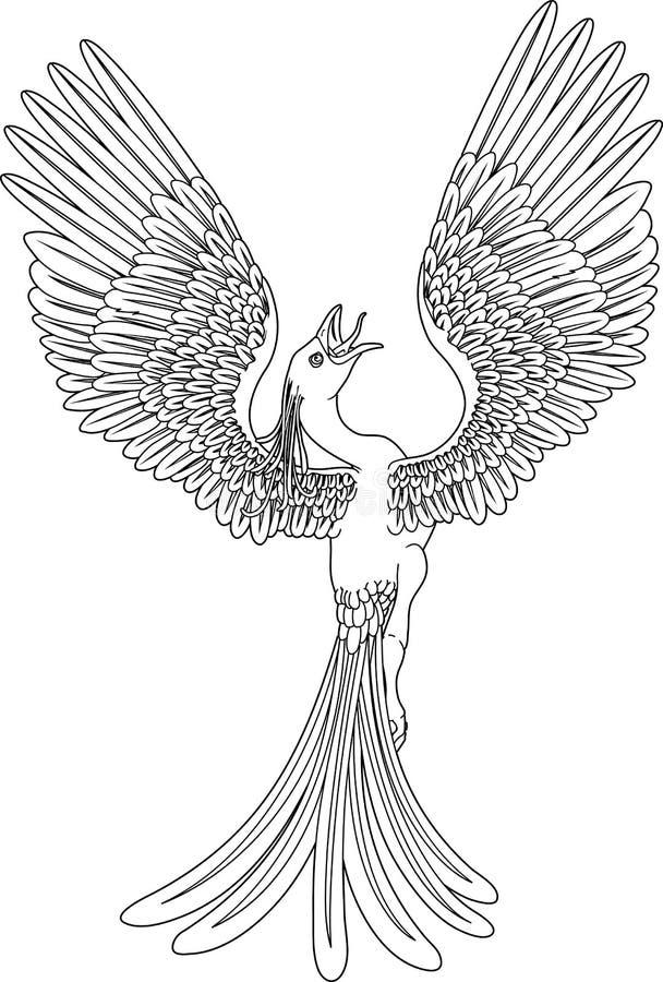 monokromma phoenix vektor illustrationer