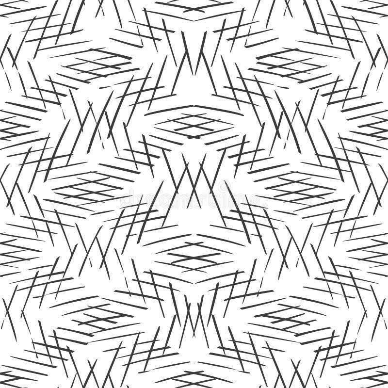 Monokromma randiga linjer bakgrund Skärande diagonal monokrom textur Sömlös hand dragen vektormodell royaltyfri illustrationer