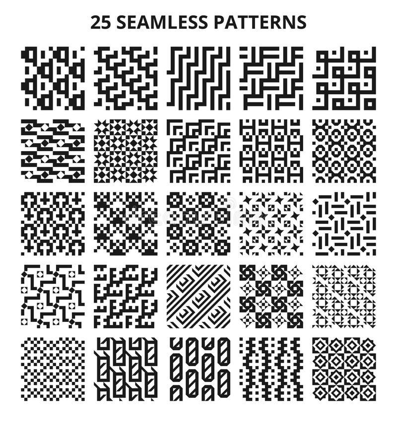 Monokromma sömlösa geometriska modeller Geometrisk linje upprepande gränser för abstrakt fractal för vektor vektor illustrationer
