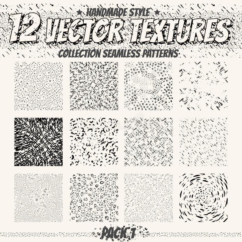 Monokromma sömlösa texturer för samling för digital design Vektormodeller för rengöringsduk, textil, tyg och annat royaltyfri illustrationer