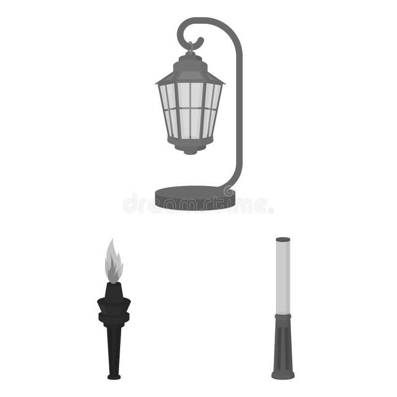 Monokromma symboler för lampstolpe i uppsättningsamlingen för design Lyktan och belysningvektorsymbolet lagerför rengöringsdukill vektor illustrationer