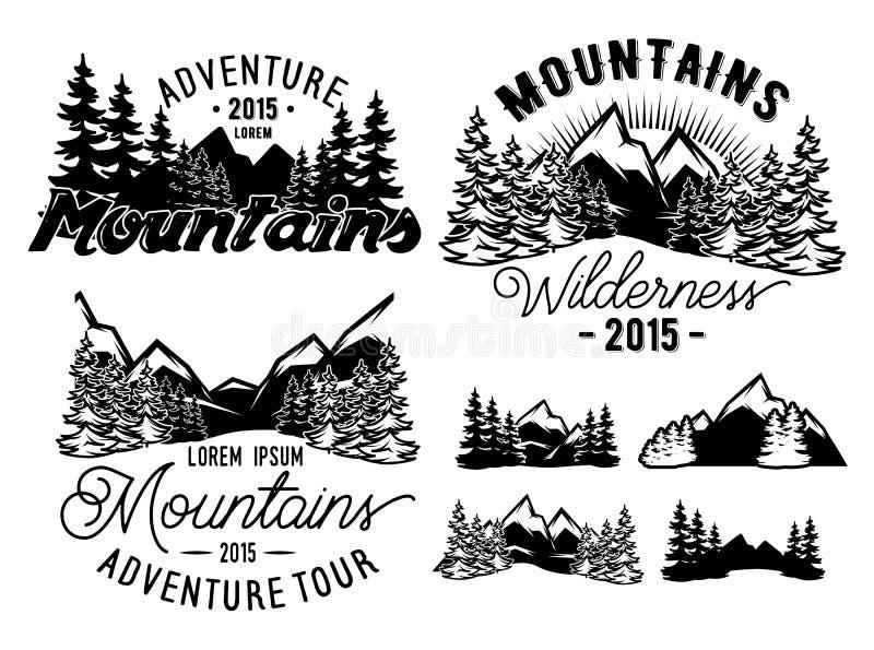 Monokrommodelllandskap med berg och granskogen stock illustrationer