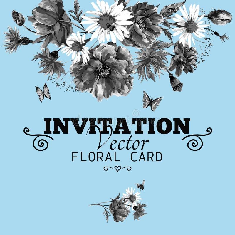 Monokromt blom- hälsningkort för vattenfärg med royaltyfri illustrationer