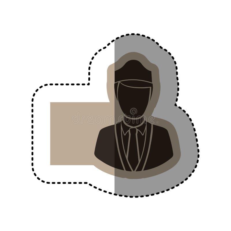 monokromt emblem för klistermärke med flygvärdinnan royaltyfri illustrationer