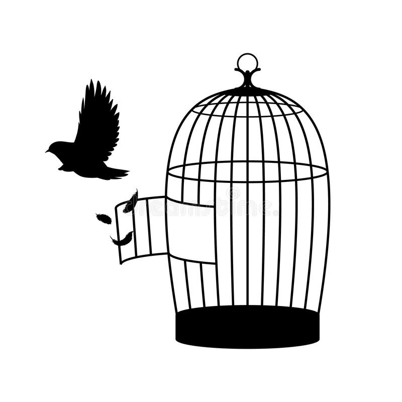Monokromt fågelkonturbegrepp stock illustrationer