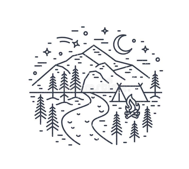 Monokromt landskap med tältet och lägereld i skog, floden, berg och natthimmel som dras med svarta konturlinjer på stock illustrationer