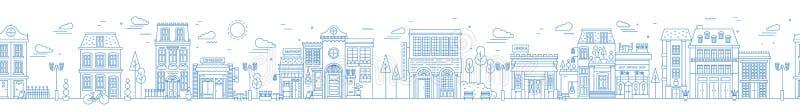 Monokromt sömlöst stads- landskap med det stadsgatan eller området Cityscape med bostads- hus och shoppar utdraget med stock illustrationer