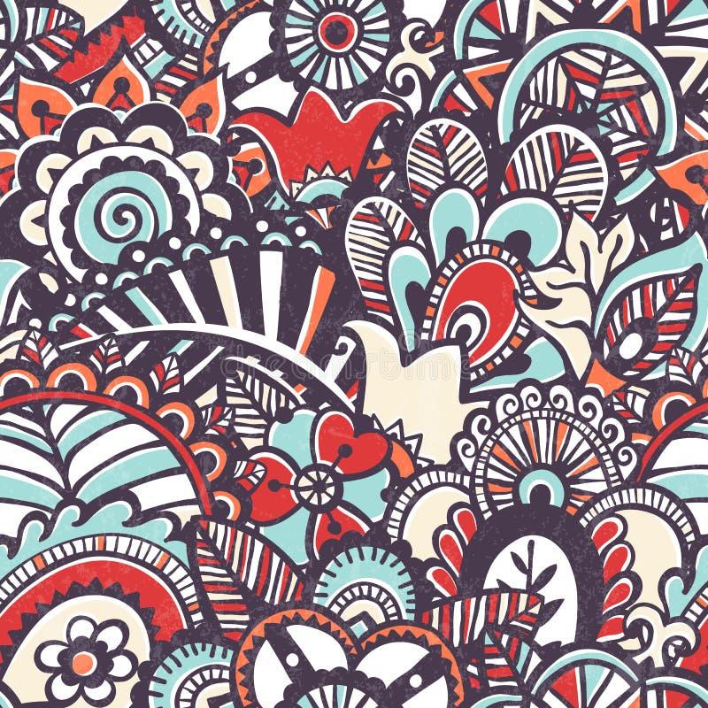 Monokromt tryck för klotter.  Sömlös blom- bakgrund. royaltyfri illustrationer