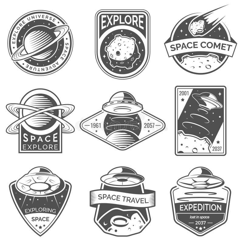 Monokromt utrymme, ufo- och planetetiketter, logoer, emblem, emblem Undersök beskickningen i utrymme vektor illustrationer