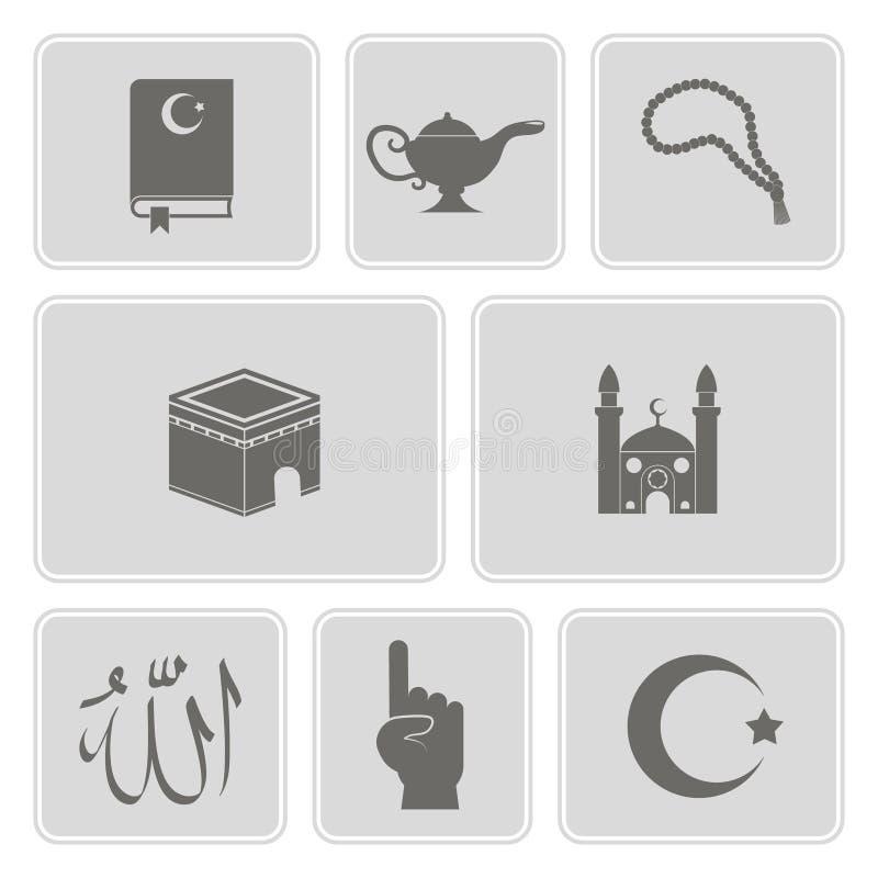 Monokromuppsättning med islamiska symboler royaltyfri illustrationer