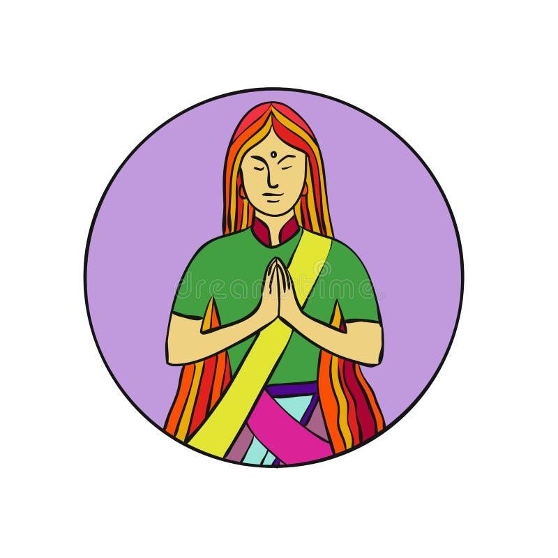 Monolijnillustratie van een jonge Indische vrouwen dringende handen samen met een glimlach om Namaste, een gemeenschappelijke cul royalty-vrije illustratie
