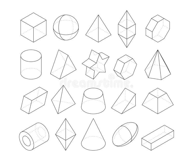 Monoline例证 不同的几何形状框架  库存例证