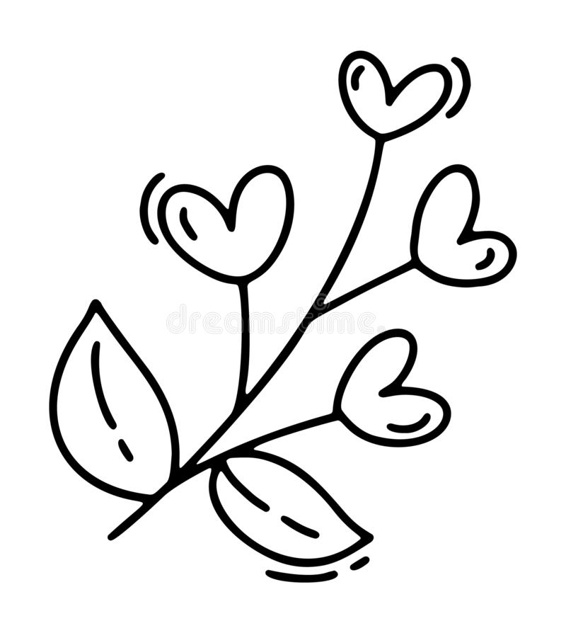 Monoline cute branch with hearts. Vector Valentines Day Hand Drawn icon. Holiday sketch doodle Design element valentine. Love decor for web, wedding and print stock illustration