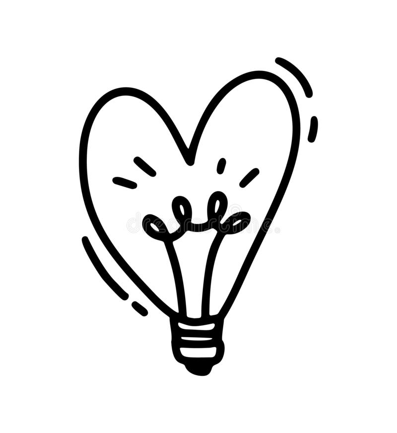 Monoline cute lamp in form of heart. Vector Valentines Day Hand Drawn icon. Holiday sketch doodle Design element stock illustration