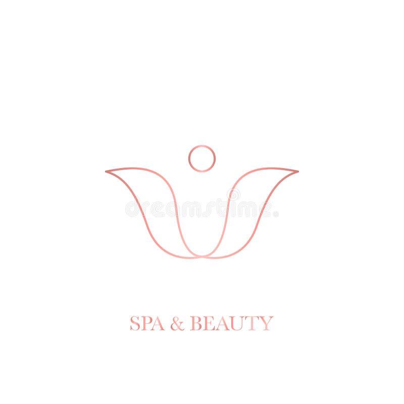 Monoline enkla logoer för brunnsort och skönhetsalong royaltyfri illustrationer