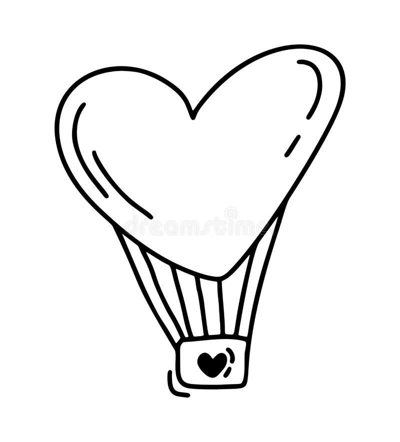 Monoline gullig ballong i form av hjärta Dragen symbol för vektorvalentindag hand Ferie skissar klotterdesignbeståndsdelen royaltyfri illustrationer
