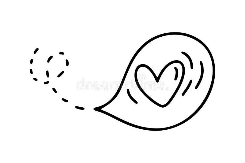 Monoline gullig ballong med hjärta Dragen symbol för vektorvalentindag hand Ferie skissar valentin för klotterdesignbeståndsdelen stock illustrationer
